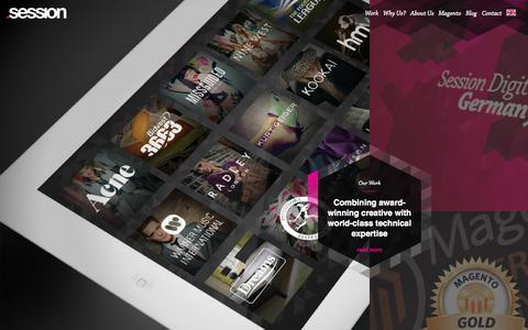 Screenshot of Home Page sessiondigital.com - Magento Ecommerce Development and Magento Enterprise Web Design Agency - captured Jan. 28, 2015