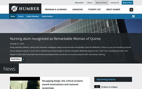 Screenshot of Press Page humber.ca - News | Humber College - captured Oct. 22, 2015