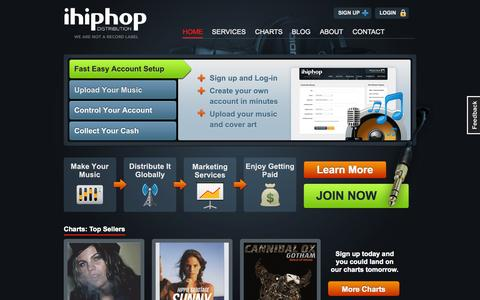 Screenshot of About Page Privacy Page Contact Page Services Page Signup Page Login Page Terms Page ihiphop.com - Distribute & Market Your Music Now | iH2D - captured Oct. 11, 2014