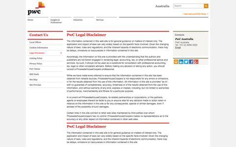 Screenshot of Terms Page pwc.com.au - PwC Australia -  PwC Legal Disclaimer - captured July 27, 2016