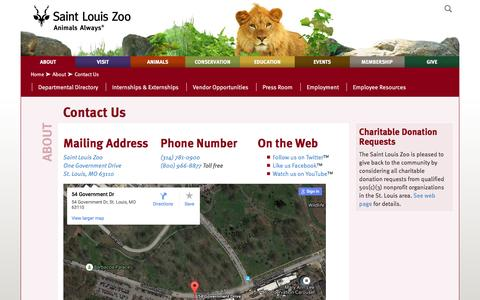 Screenshot of Contact Page stlzoo.org - Contact Us :: Saint Louis Zoo - captured Nov. 18, 2016