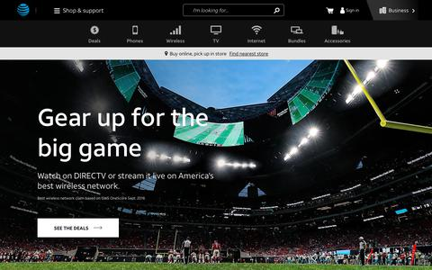 Screenshot of Home Page att.com - AT&T® Official - Entertainment, TV, Wireless and Internet - captured Jan. 22, 2019