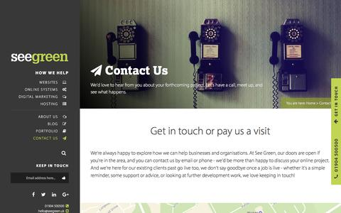 Screenshot of Contact Page seegreen.uk - See Green: York Web Design and Development | Contact - captured Jan. 18, 2017
