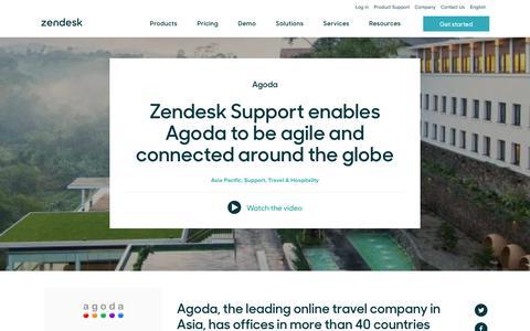 Screenshot of Support Page zendesk.com - Agoda Customer Service Story   Zendesk - captured April 13, 2018
