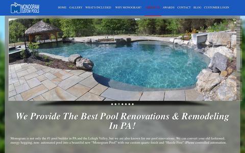 Screenshot of Services Page monogramcustompools.com - Best Pool Renovations & Remodeling in PA | Monogram Custom Pools - captured Oct. 26, 2014