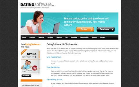 Screenshot of Testimonials Page datingsoftware.biz - Most Used Online Dating Software - captured Nov. 4, 2014