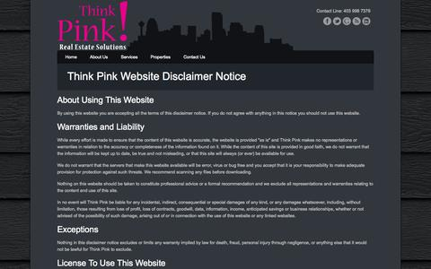 Screenshot of Terms Page thinkpinkrealestate.ca - Think Pink! Real Estate Solutions - captured Oct. 9, 2014