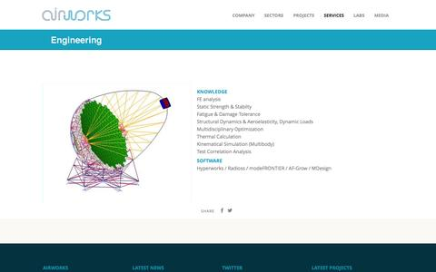 Screenshot of Services Page air-works.eu - Engineering AIRWORKS Engineering Advanced Systems. A contractor delivering efficient, highly reliable engineering and development capabilities to support advanced projects| Airworks - captured Oct. 4, 2014