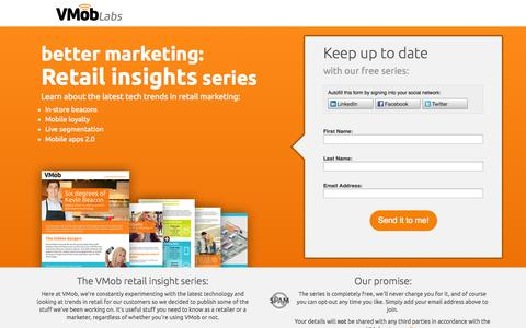 Screenshot of Landing Page vmoblive.com - The retail insight series by VMob labs - captured Oct. 27, 2014