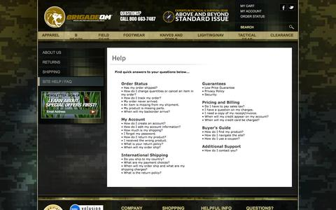 Screenshot of FAQ Page brigadeqm.com - Brigade QM   Tactical & Survival Gear, Clothing and Tools - captured Oct. 5, 2014