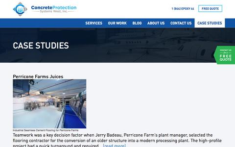 Screenshot of Case Studies Page cps-west.com - Case Studies - Concrete Protection Systems West Inc - captured Aug. 22, 2017