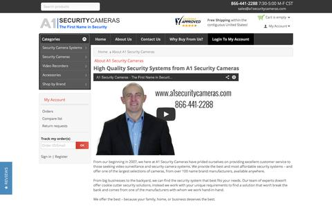 Screenshot of About Page a1securitycameras.com - About A1 Security Cameras - captured Oct. 29, 2014