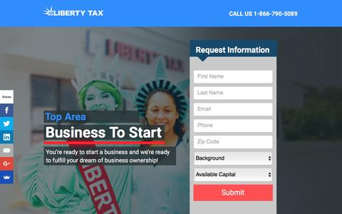 Screenshot of Landing Page libertytaxfranchise.com - Businesses to Start, Start a Business | Liberty Tax Franchise - captured Aug. 24, 2016