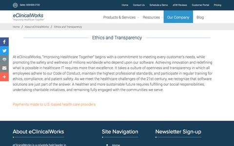 Ethics and Transparency - eClinicalWorks
