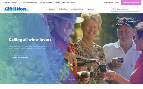 Screenshot of giftitnow.com.au - Gift It Now: Shop 2000+ experience gifts Australia-wide instantly - captured July 18, 2018