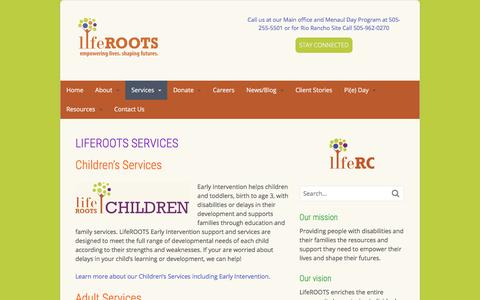 Screenshot of Services Page liferootsnm.org - LifeROOTS Services - LifeROOTS - captured Aug. 14, 2017