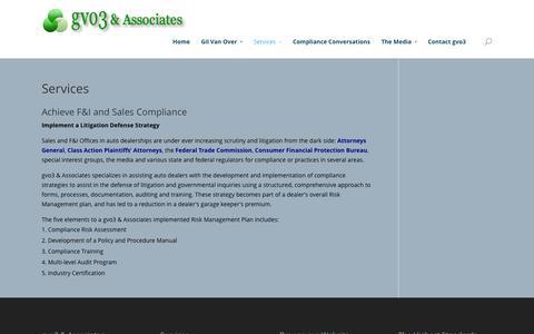 Screenshot of Services Page gvo3.com - Services | gvo3 & Associates - captured Oct. 3, 2014