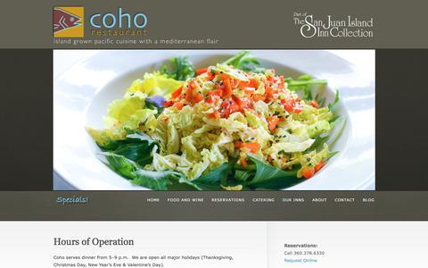 Screenshot of Hours Page cohorestaurant.com - Hours of Operation  @  Coho Restaurant - captured May 19, 2017