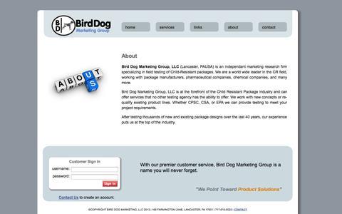 Screenshot of About Page birddogmarketinggroup.com - Bird Dog Marketing Group - captured Oct. 5, 2014