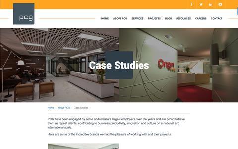 Screenshot of Case Studies Page pcg.com.au - PCG - captured Nov. 13, 2016