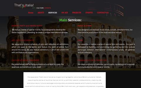 Screenshot of Services Page thatsitaliart.it - main services - captured Nov. 30, 2016