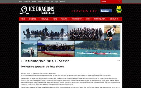 Screenshot of Signup Page icedragons.com.au - ICE DRAGONS | Paddle Club   » Club Membership 2014-15 Season - captured Oct. 4, 2014