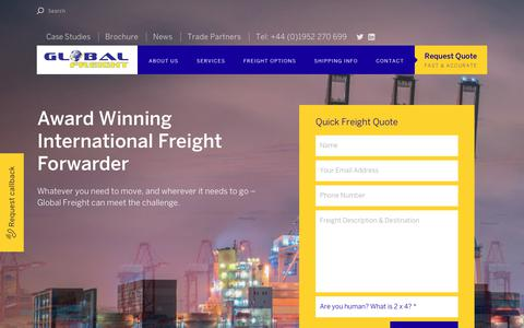 Screenshot of Home Page global-freight.co.uk - Global Freight - Award Winning International Freight Forwarder - captured Sept. 26, 2018