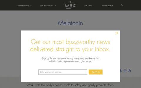 Screenshot of zarbees.com - Zarbee's Naturals™ Ingredient Stories – Melatonin - captured Sept. 19, 2017