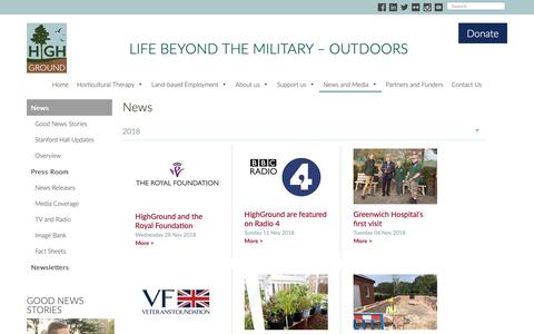 Screenshot of Press Page highground-uk.org - News - captured Dec. 15, 2018