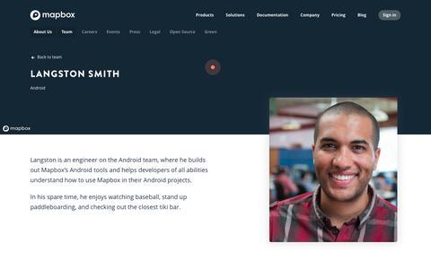 Screenshot of Team Page mapbox.com - Langston Smith   Mapbox - captured Feb. 19, 2019