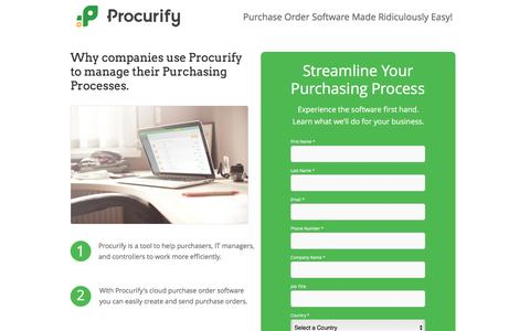 Screenshot of Landing Page procurify.com - Purchase Order Software Made Ridiculously Easy! - captured May 10, 2016