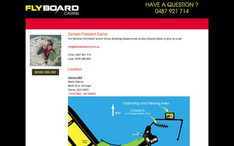 Screenshot of Contact Page flyboardcairns.com.au - Contact Us - Flyboard Cairns - captured Aug. 3, 2015
