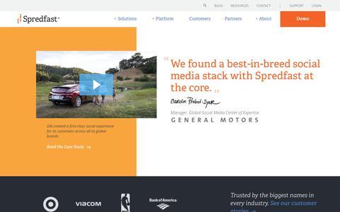 Screenshot of Home Page spredfast.com - Social Media Marketing & Management Software   Spredfast - captured April 3, 2018
