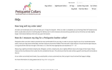 Screenshot of FAQ Page petiquettecollars.co.uk - FAQs - Petiquette Collars - captured Oct. 1, 2016