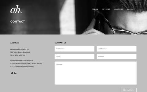 Screenshot of Contact Page anticipatehospitality.com - Contact | Anticipate Hospitality - captured Oct. 29, 2014