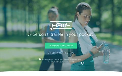 Screenshot of Home Page fitmo.com - Fitmo - Personal trainer in your pocket - captured Nov. 5, 2015