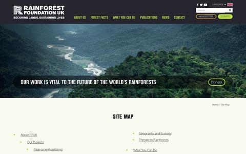 Screenshot of Site Map Page rainforestfoundationuk.org - Site Map | Rainforest Foundation UK - captured Oct. 19, 2018