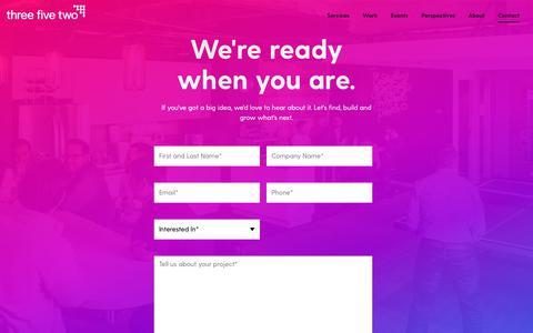 Screenshot of Contact Page threefivetwo.com - Start a Digital Transformation - Contact Us | Three Five Two - captured April 25, 2019