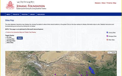 Screenshot of Maps & Directions Page jonangfoundation.org - Sites Map | Jonang Foundation - captured Sept. 30, 2014