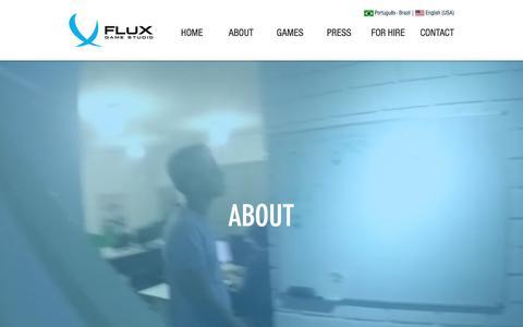 Screenshot of About Page fluxgamestudio.com - Produtora de Games | Flux Game Studio | ABOUT - captured Aug. 18, 2018