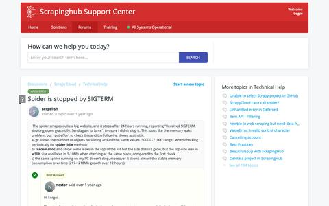 Screenshot of Support Page scrapinghub.com - Spider is stopped by SIGTERM - Scrapinghub - captured April 15, 2019