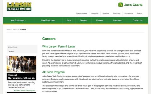 Screenshot of Jobs Page larsonjd.com - Careers - Larson Farm and Lawn Inc. - captured July 16, 2017