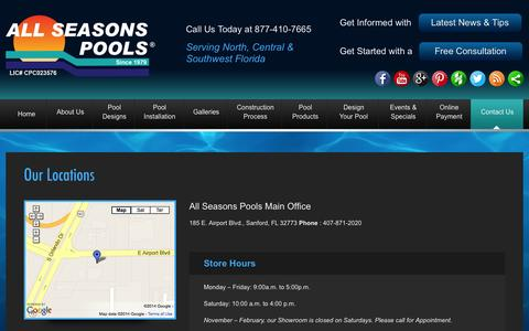 Screenshot of Locations Page allseasonspools.com - Pool Companies Orlando All Seasons Pools Locations in Florida - captured Sept. 30, 2014