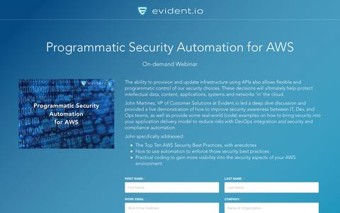 Screenshot of Landing Page evident.io - Programmatic Security Automation for AWS - On-demand Webinar - captured April 30, 2017