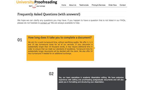 Screenshot of FAQ Page universityproofreading.com - FAQs - captured Sept. 21, 2018