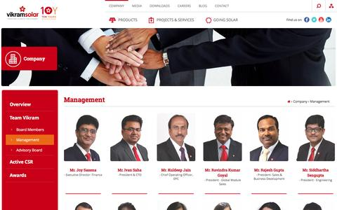 Screenshot of Team Page vikramsolar.com - Management | Vikram Solar - captured Oct. 1, 2016