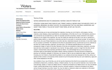 Screenshot of Terms Page waters.com - Terms of Use : Waters - captured Sept. 19, 2014