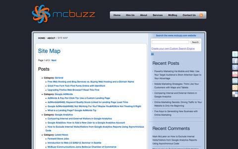 Screenshot of Site Map Page mcbuzz.com - Site Map | McBuzz Communications - captured Sept. 19, 2014