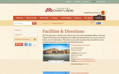 Screenshot of Locations Page fremontchapeloftheroses.com - Facilities & Directions   Fremont Chapel of the Roses - Fremont, CA - captured Sept. 26, 2014