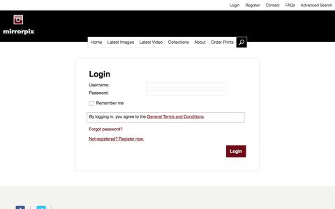 Screenshot of Login Page mirrorpix.com - Mirrorpix | Login - captured Sept. 20, 2018